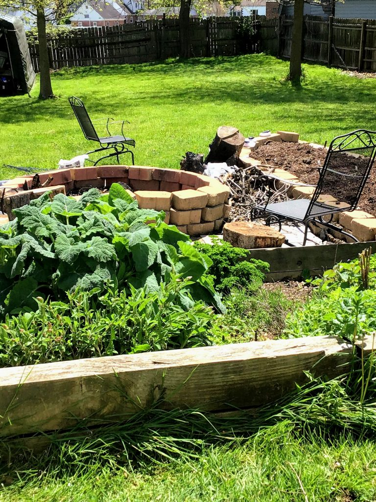 Aromatic herbs in a raised bed, adjacent to a large brick firepit and a new raised bed vegetable garden.